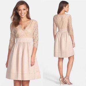 Eliza J Lace & Faille Nude Lace Dress
